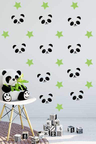 מדבקת קיר חדר תינוקות פנדה וכוכבים