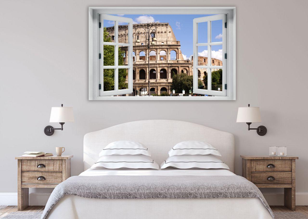 מדבקת קיר חלון תלת מימד רומא