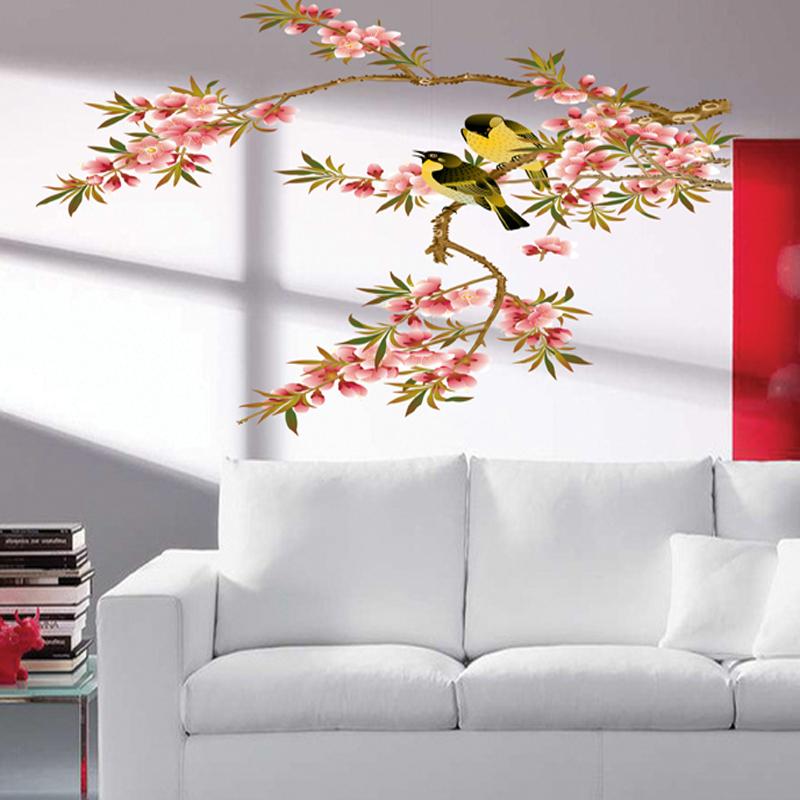 מדבקת קיר ציפורים על ענף