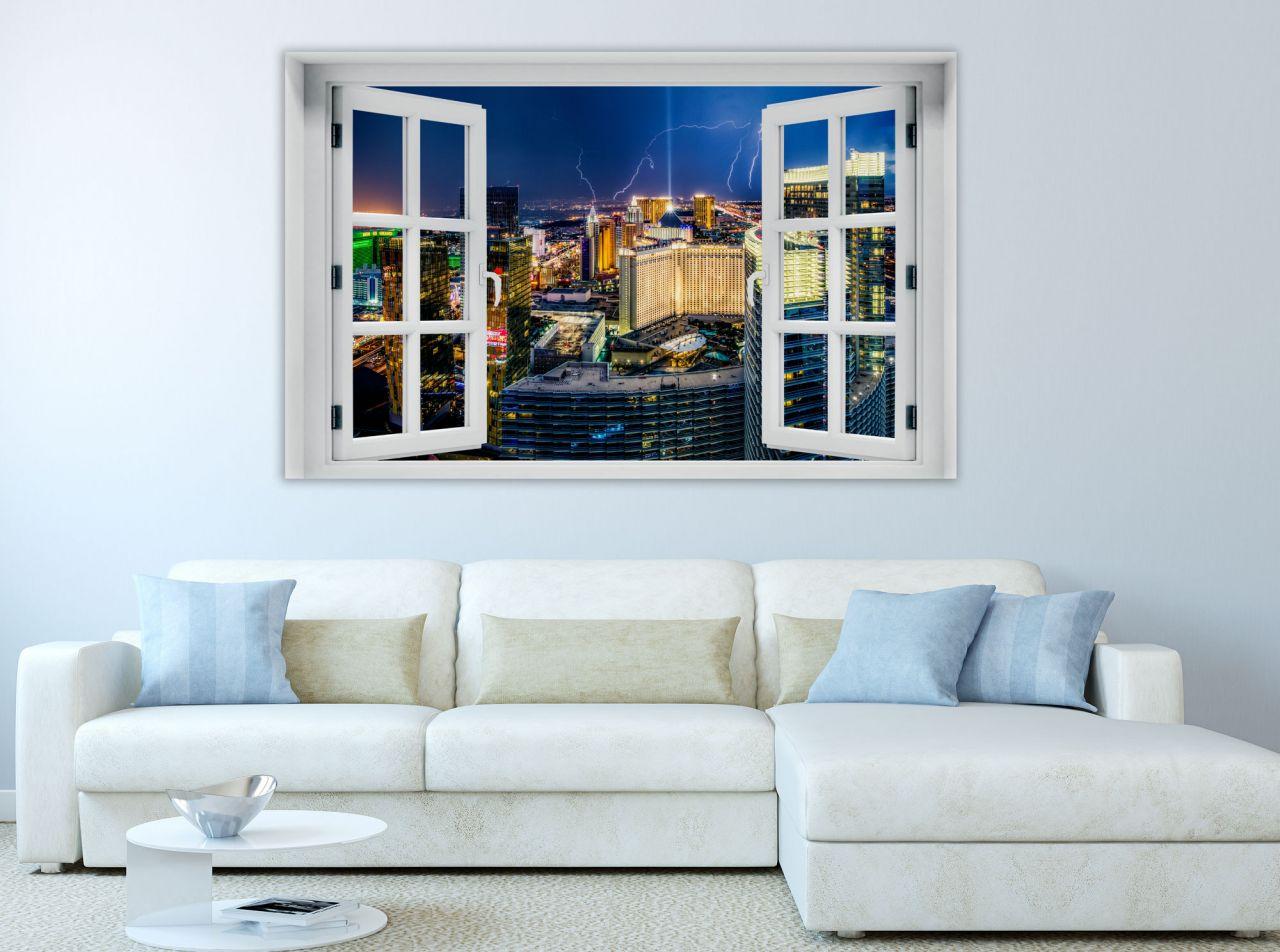 מדבקת קיר חלון תלת מימד נוף ללאס וגאס