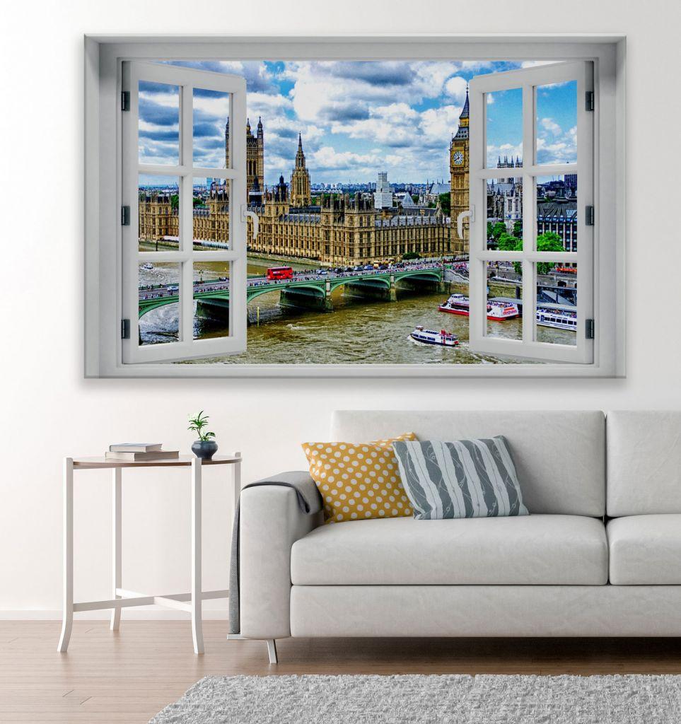 מדבקת קיר חלון תלת מימד נוף ללונדון