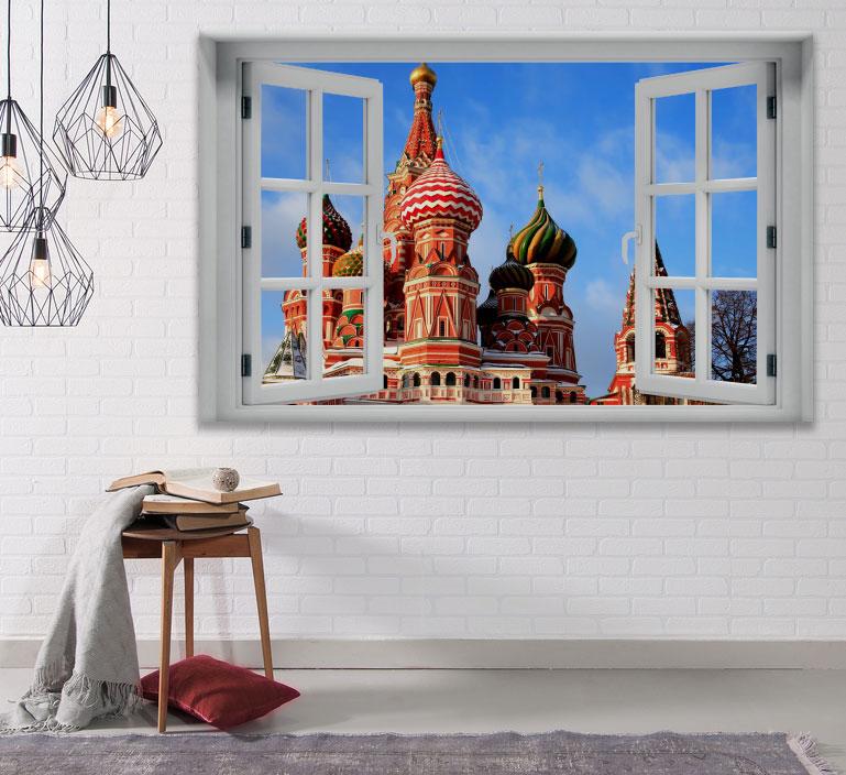 מדבקת קיר חלון תלת מימד מוסקבה