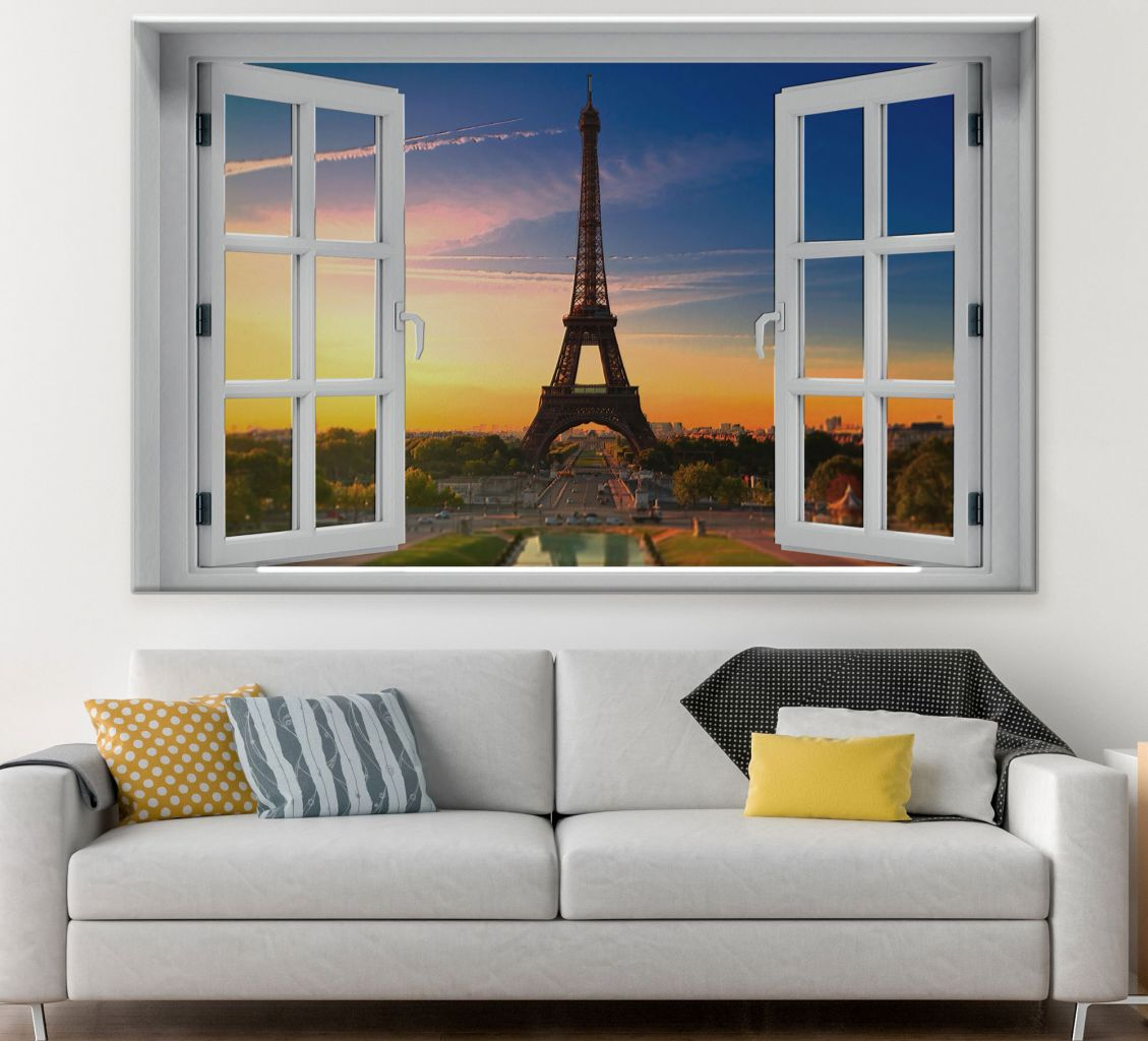 מדבקת קיר חלון תלת מימד פריז