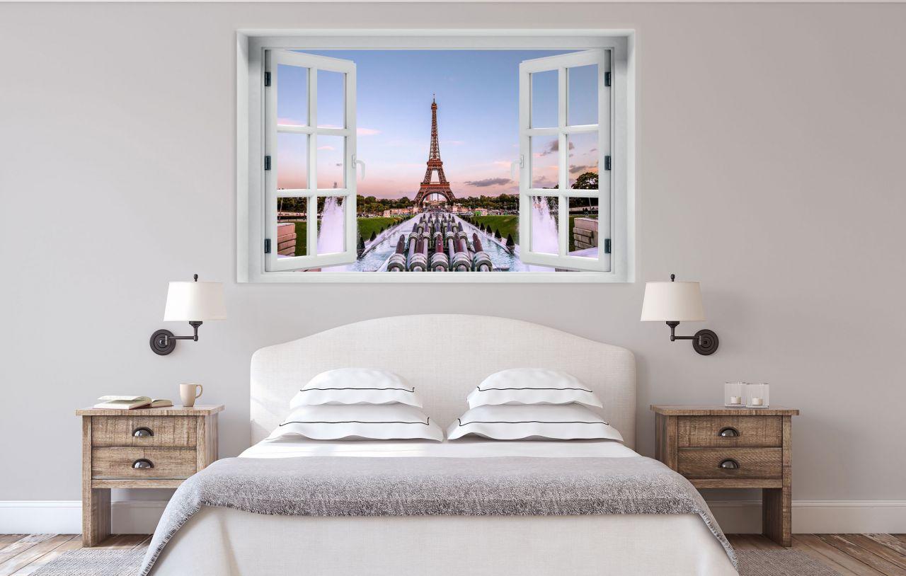 מדבקת קיר חלון תלת מימד נוף לפריז