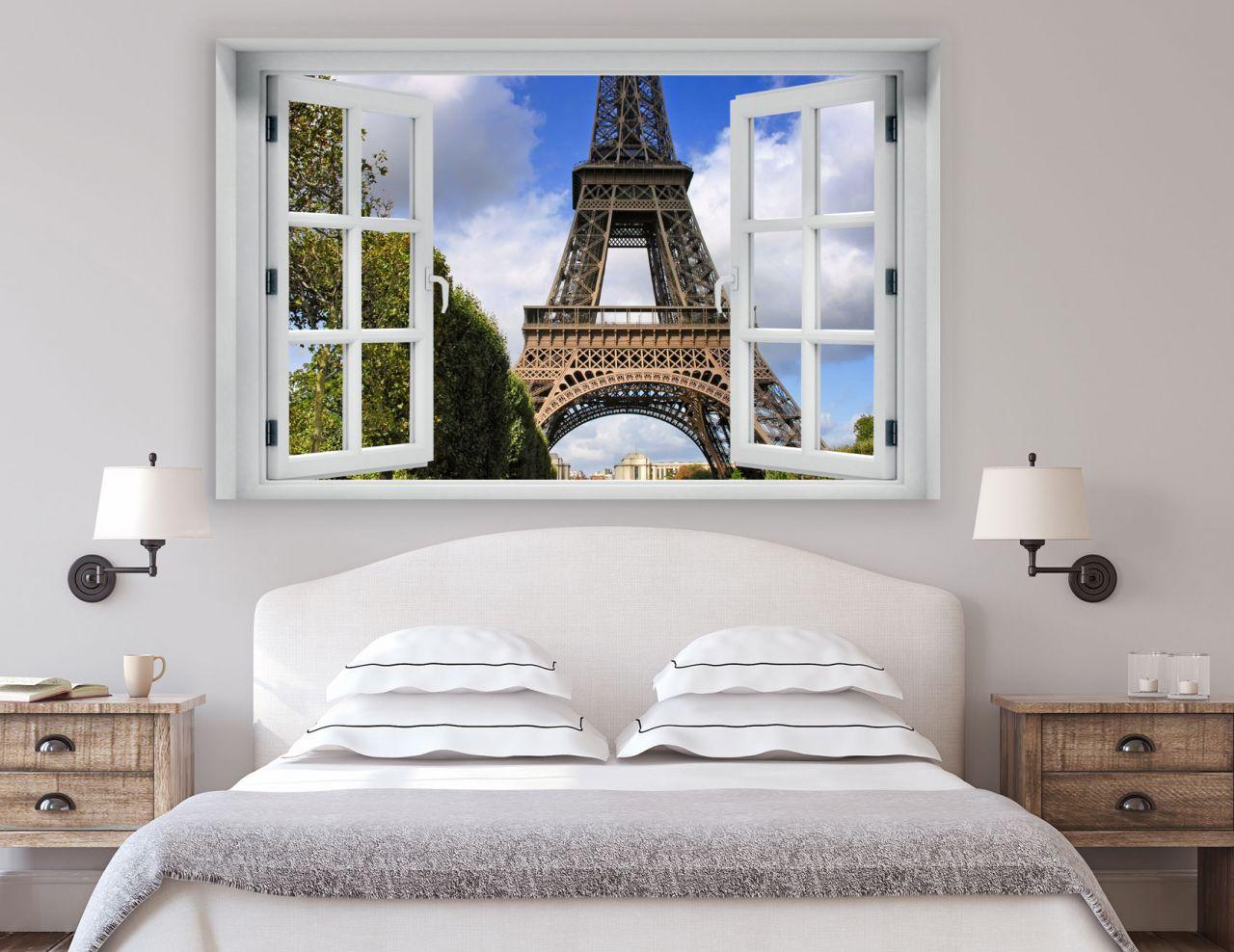 מדבקת קיר חלון תלת מימד נוף למגדל אייפל