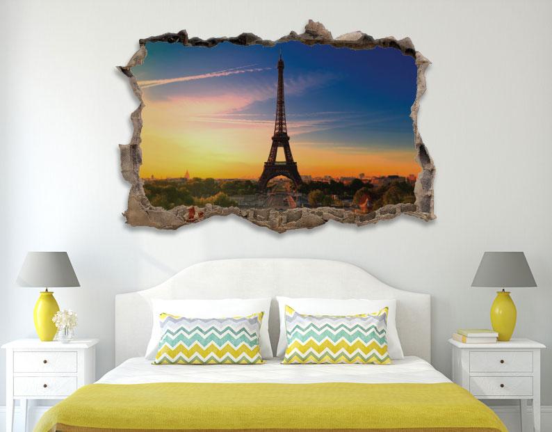 מדבקת קיר שבור תלת מימד נוף לפריז
