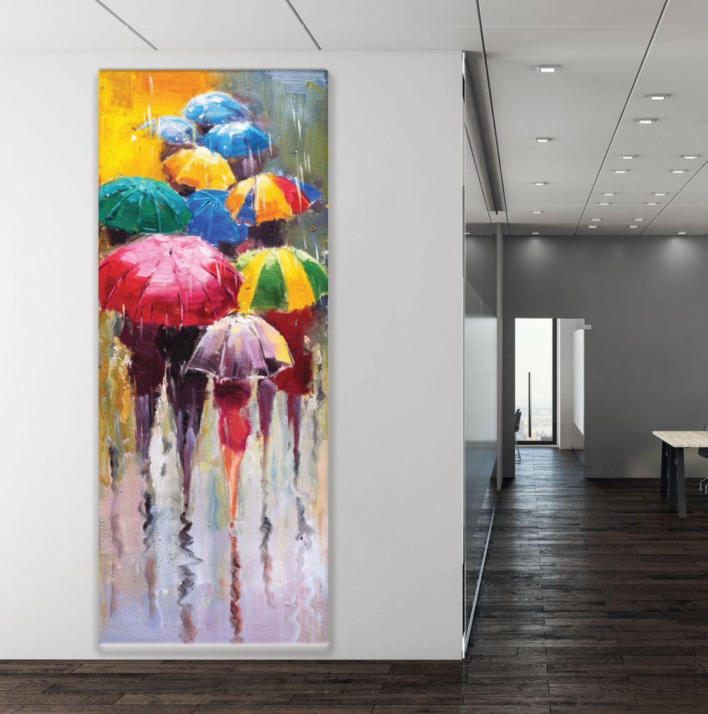 תמונת קנבס אנשים עם מטריות
