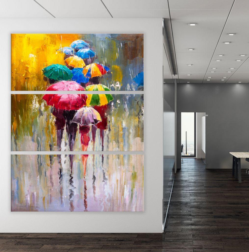 תמונת קנבס ציור שמן אנשים עם מטריות  מחולק