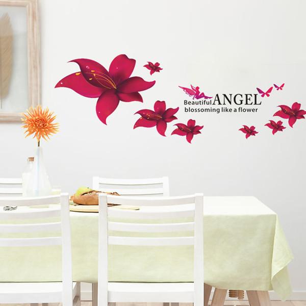 מדבקת קיר פרחים אדומים