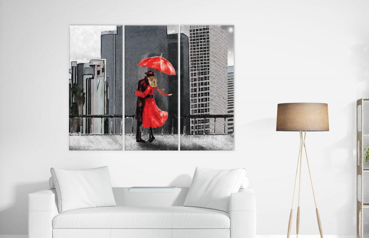 תמונת קנבס ציור שמן איש ואישה תחת מטריה אדומה מחולק