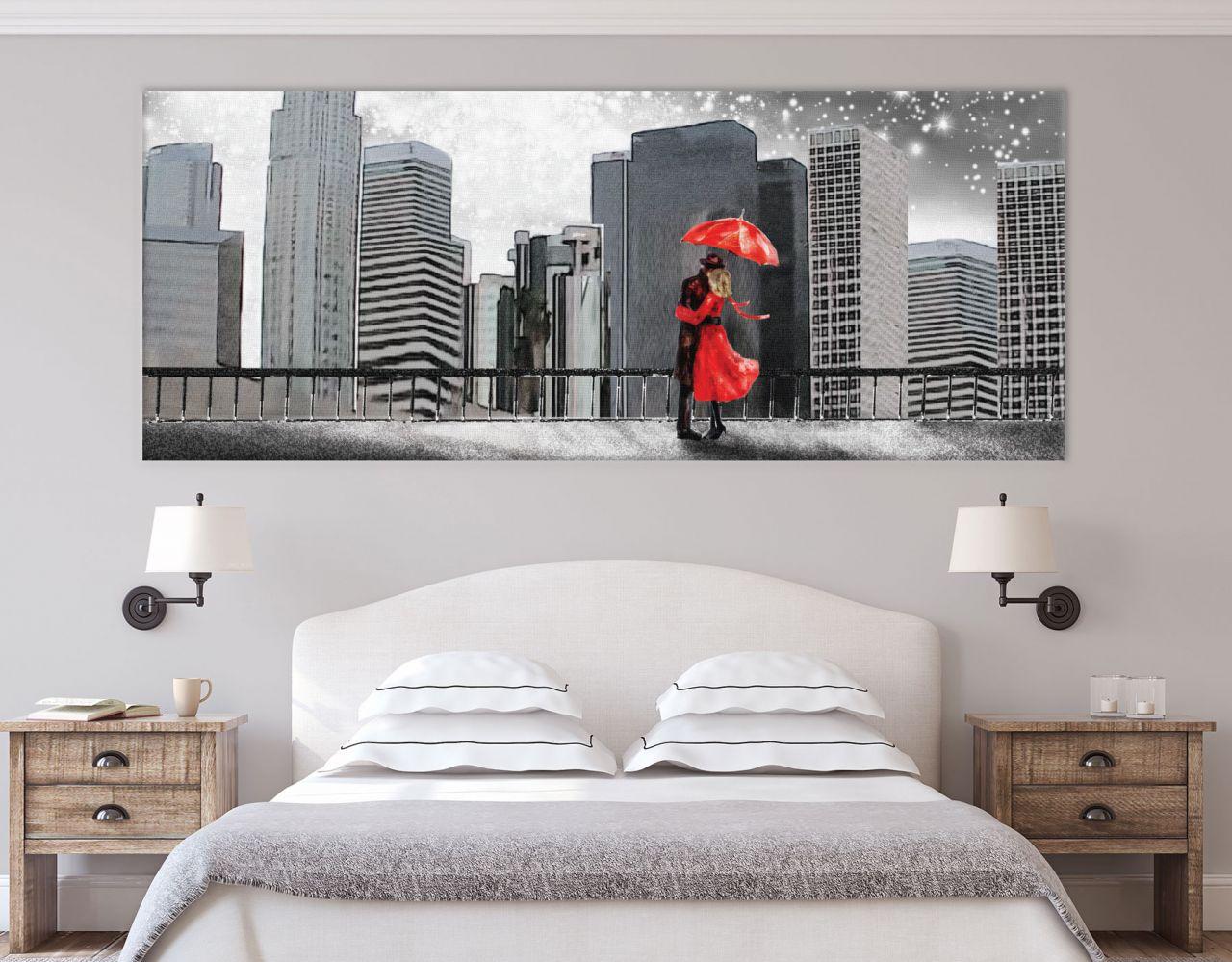 תמונת קנבס ציור שמן איש ואישה תחת מטריה אדומה