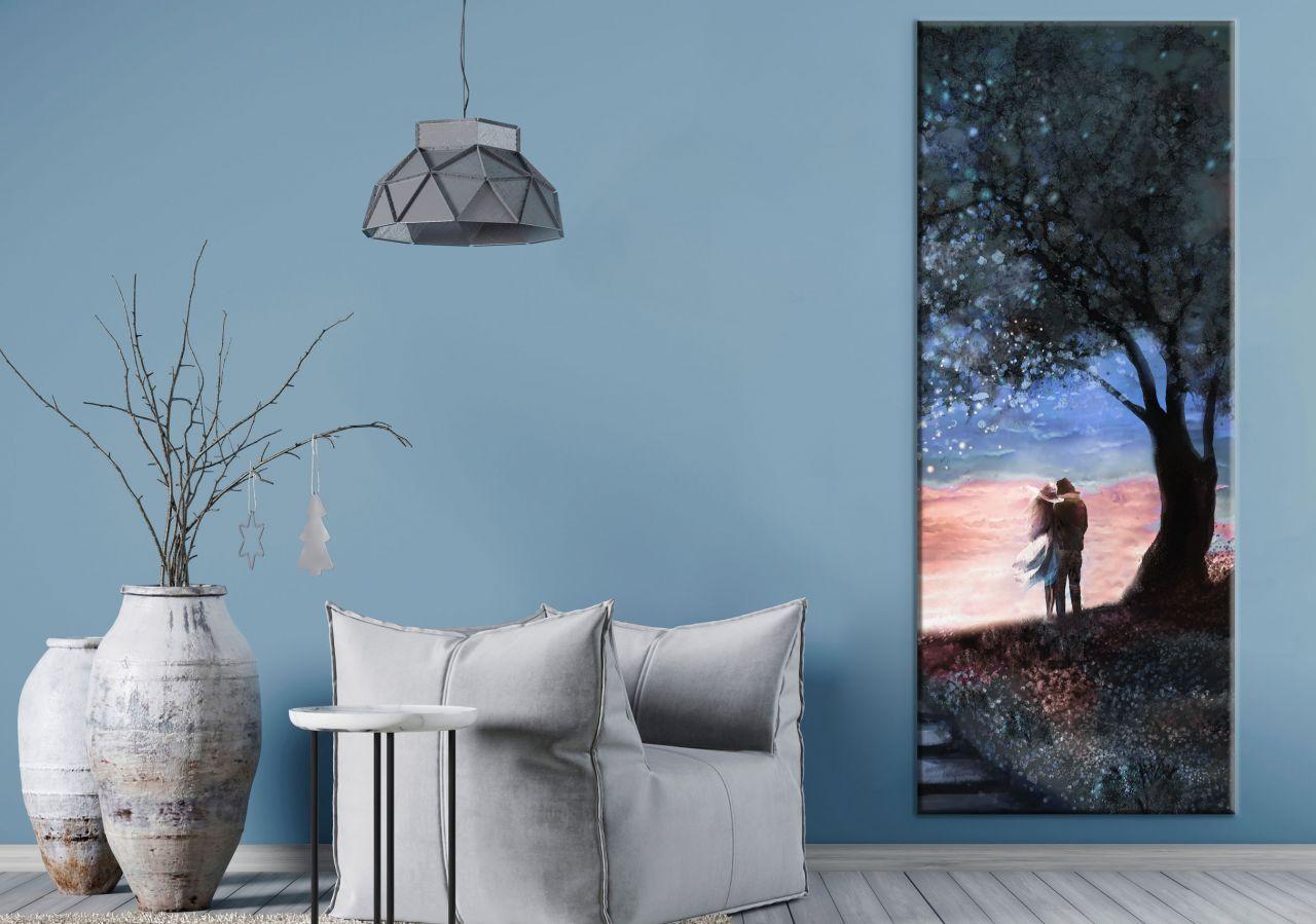 תמונת קנבס ציור שמן איש ואישה תחת עץ