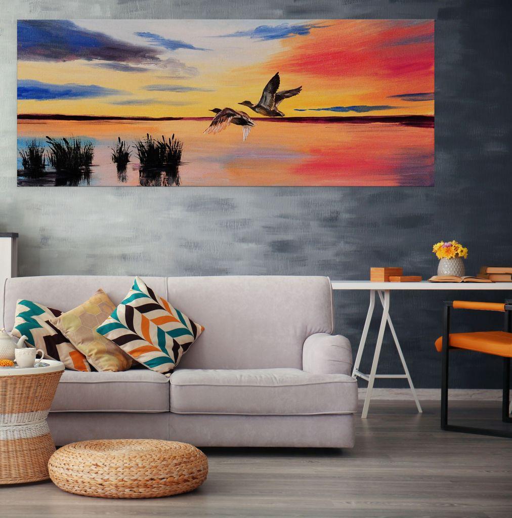 תמונת קנבס ציור מים שקיעה על אגם