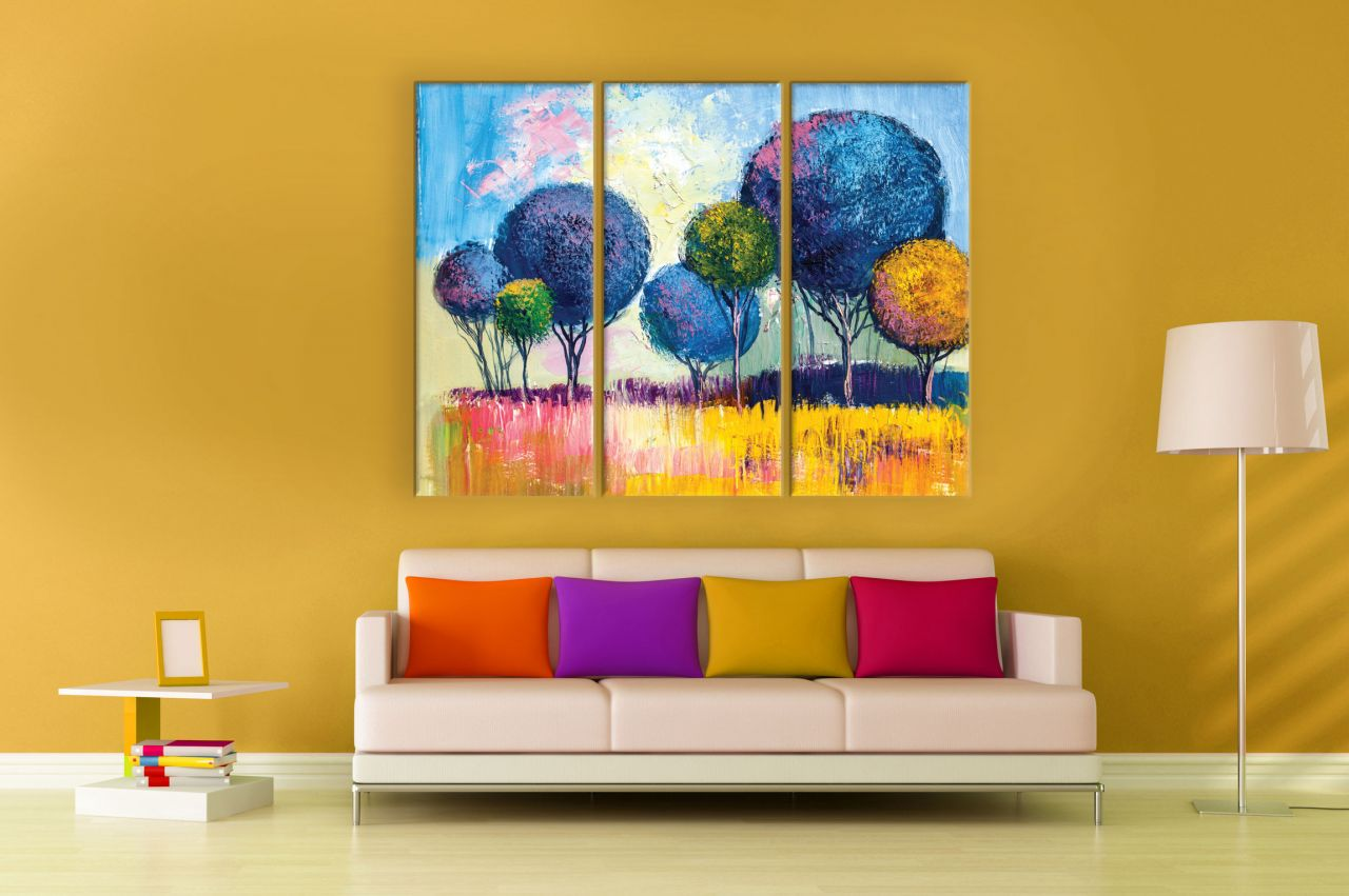 תמונת קנבס ציור שמן עצים צבעוניים מחולקת