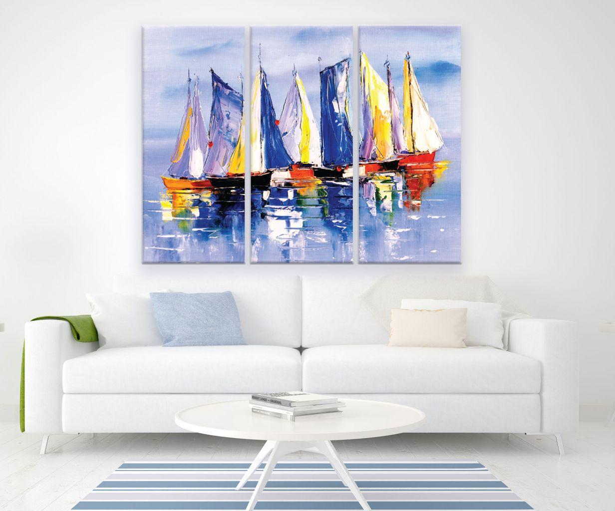 תמונת קנבס ציור שמן סירות מחולקת