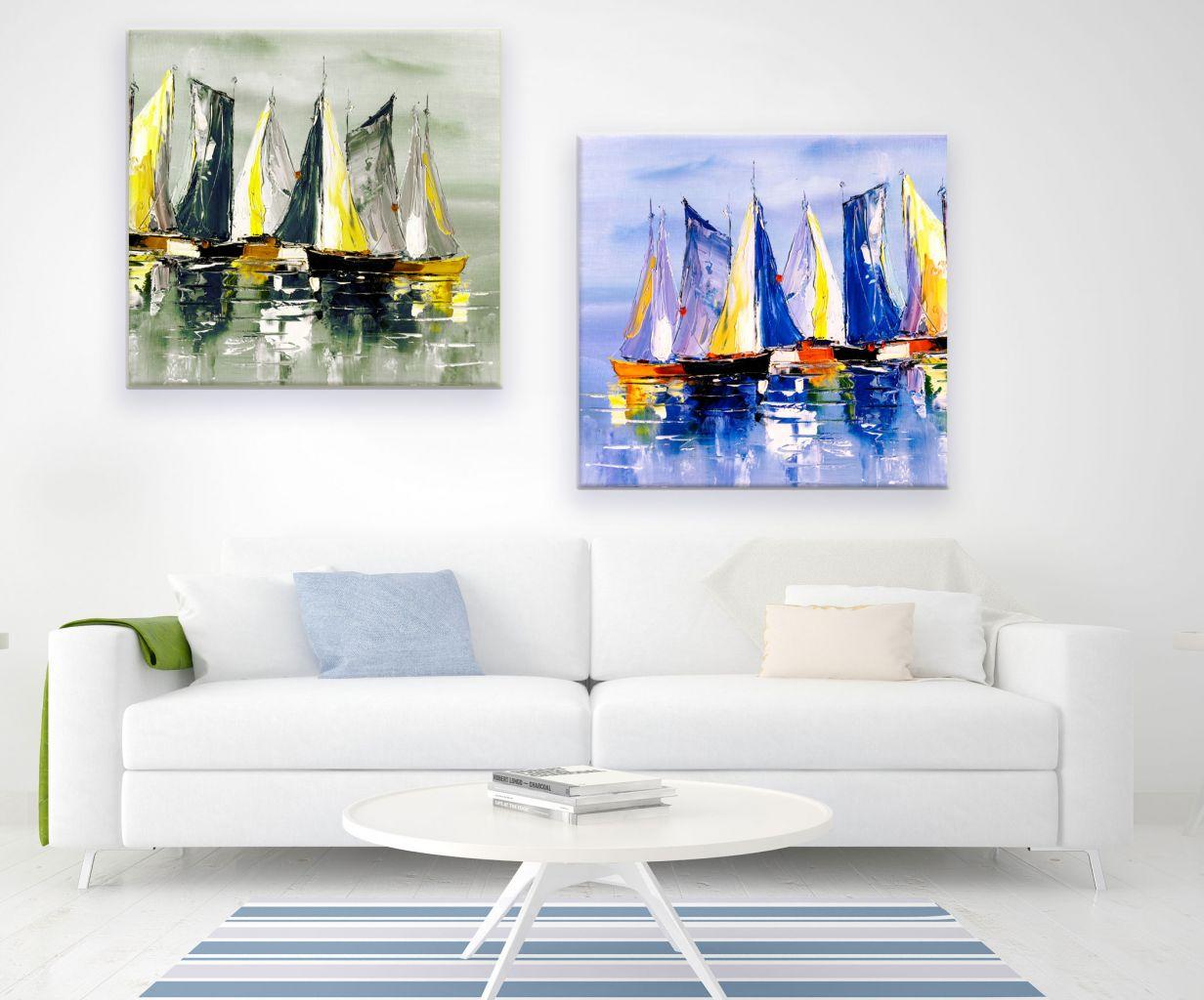 זוג תמונות קנבס ציור שמן סירות