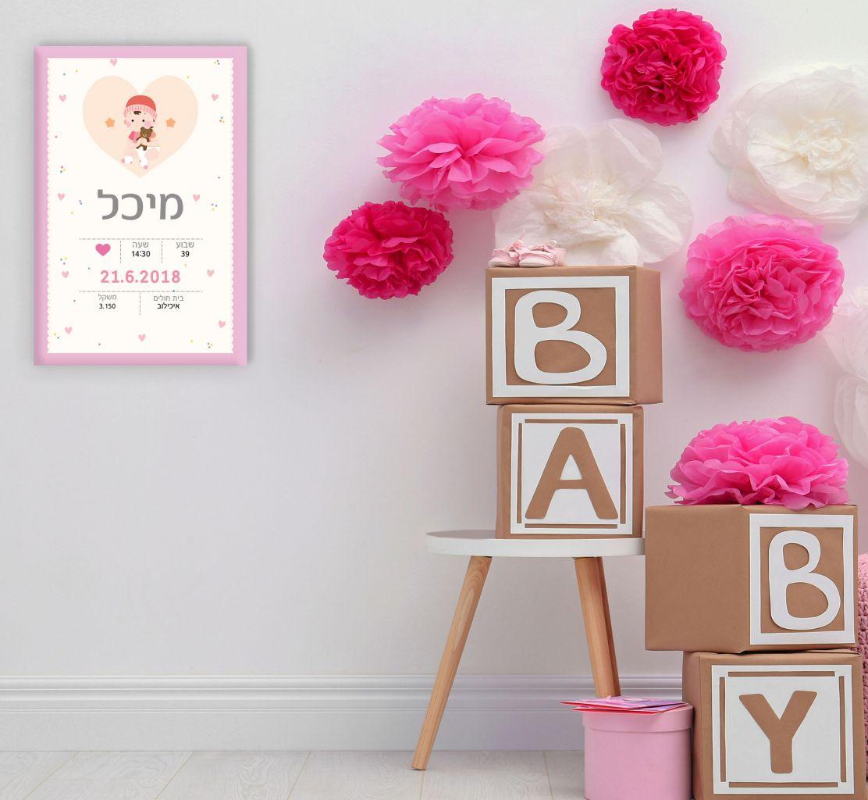 תעודת לידה על קנבס דגם לבבות