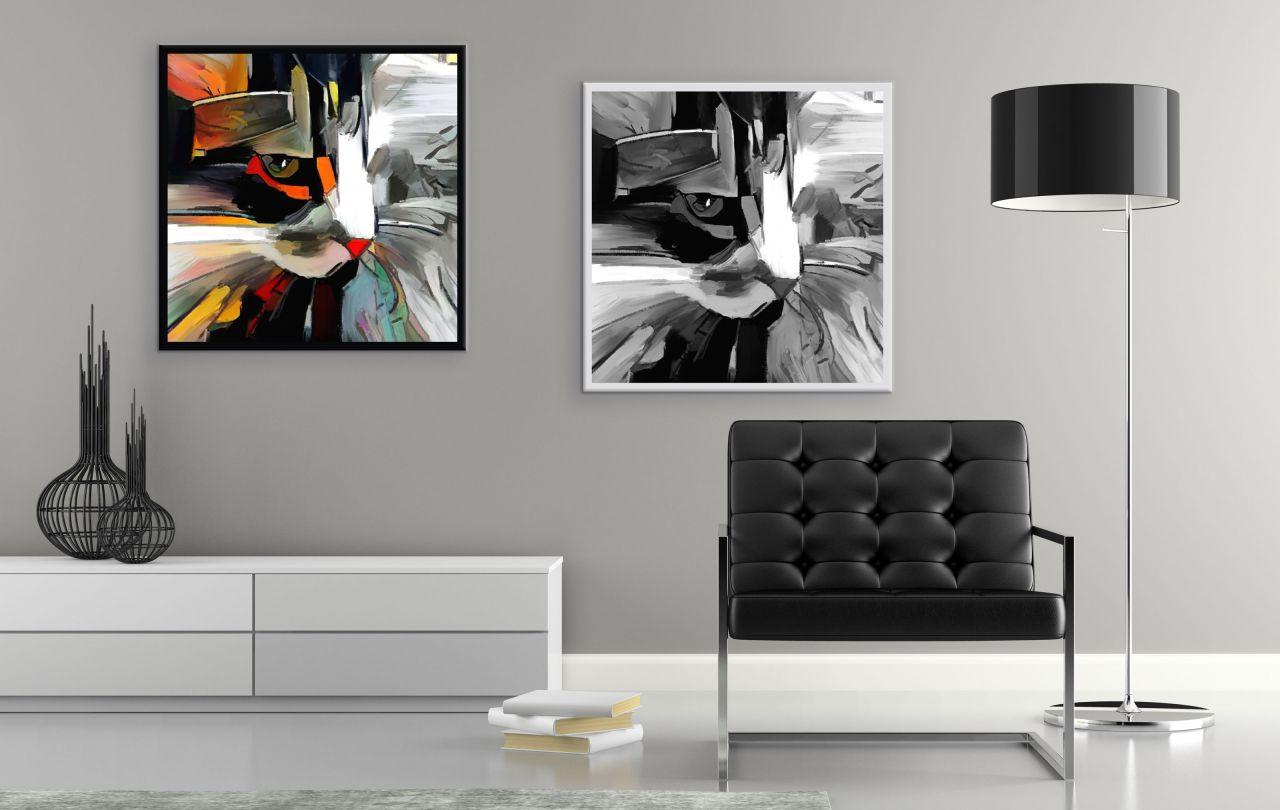 זוג תמונות קנבס ציור שמן חתול