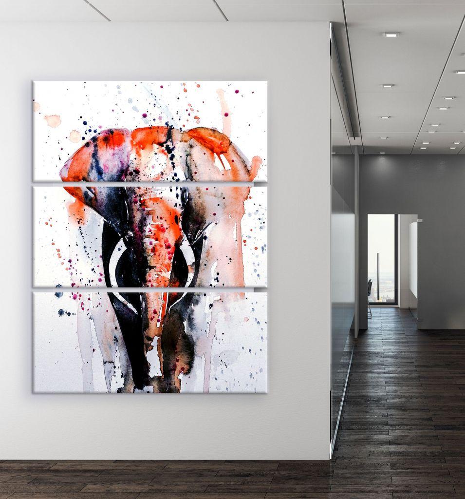 תמונת קנבס ציור של פיל בצבעי מים