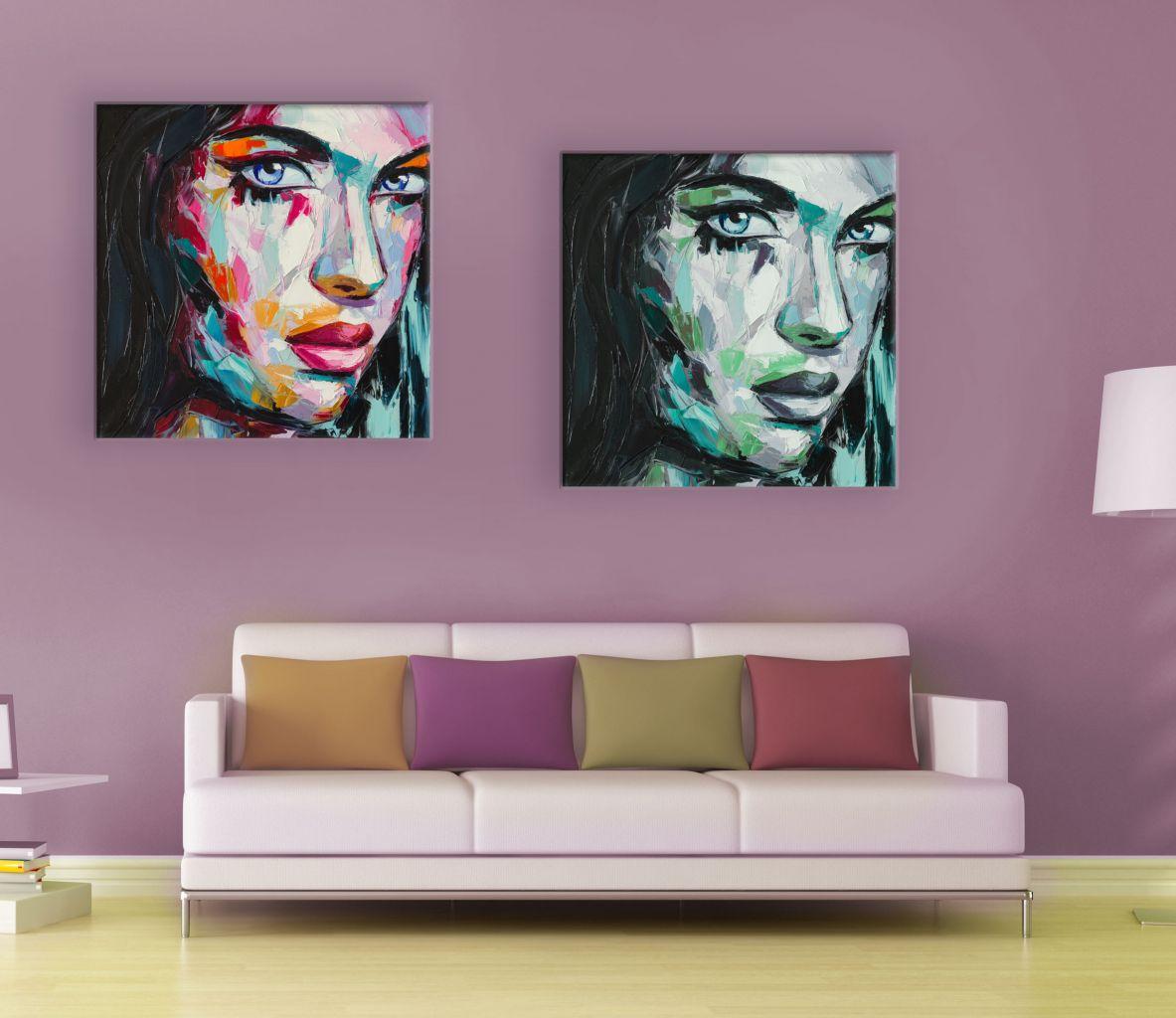 זוג תמונות קנבס ציור שמן דיוקן של אישה