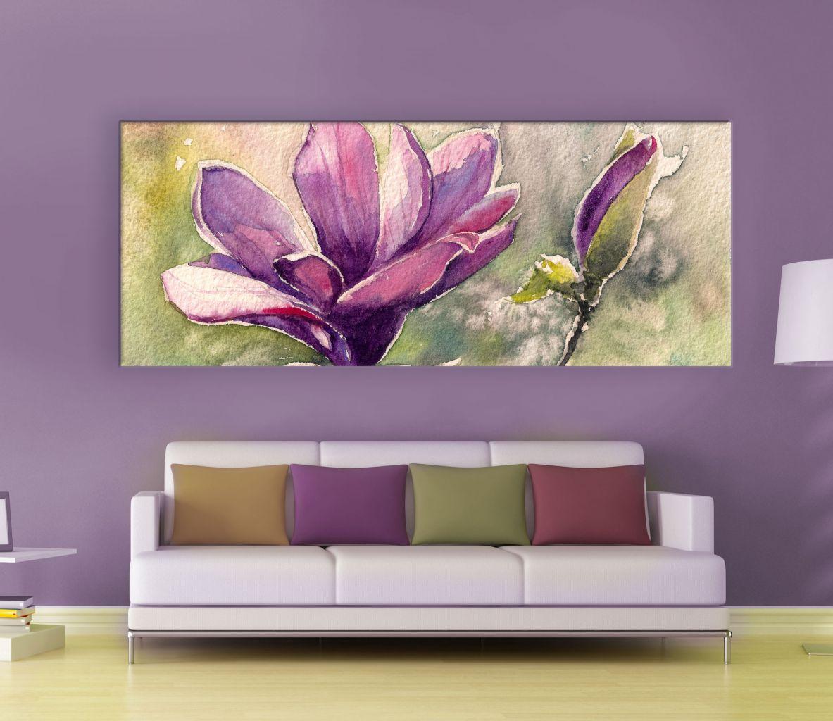 תמונת קנבס בצבעי מים מגנוליה