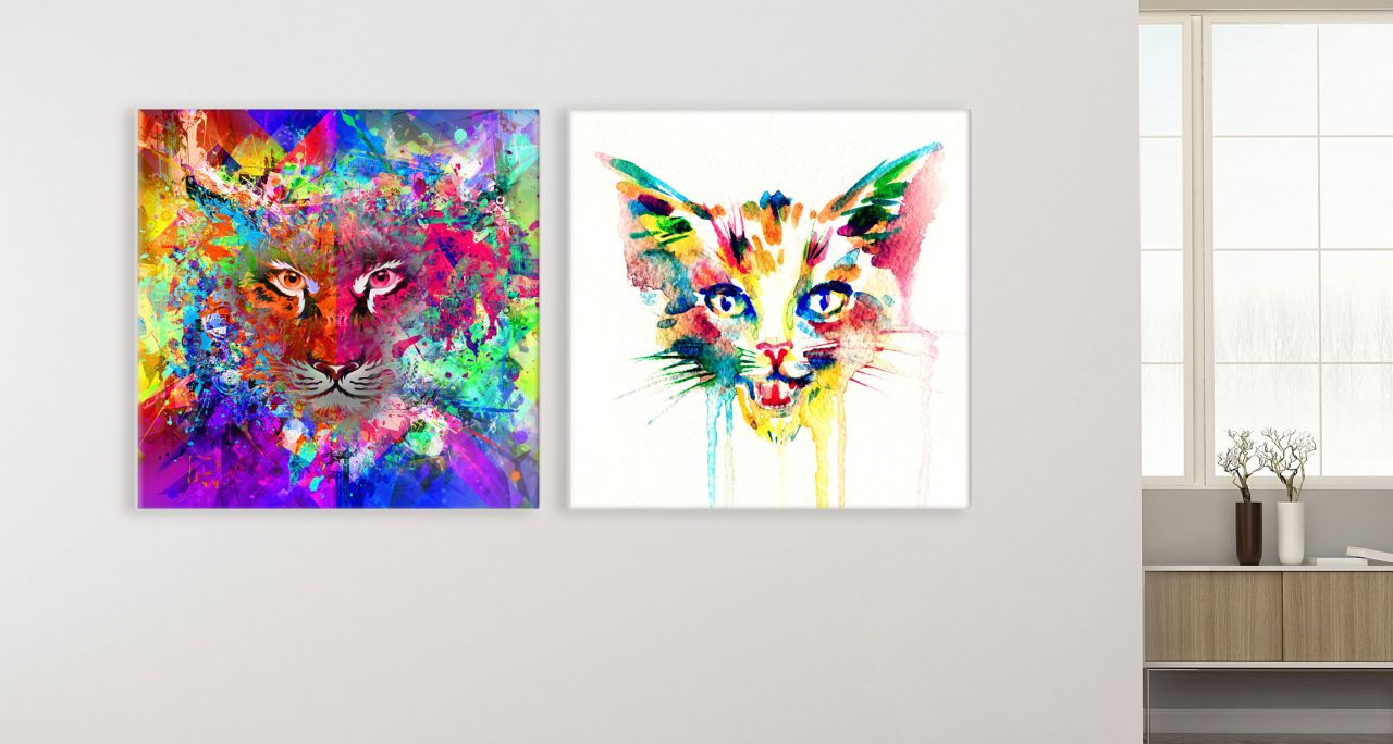 זוג תמונות קנבס של נמר וחתול מעוצבות
