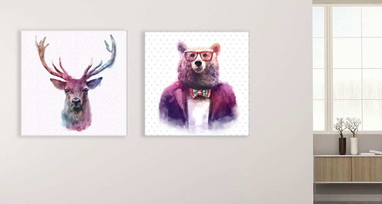 זוג תמונות קנבס דוב ואייל בצבעיי מים