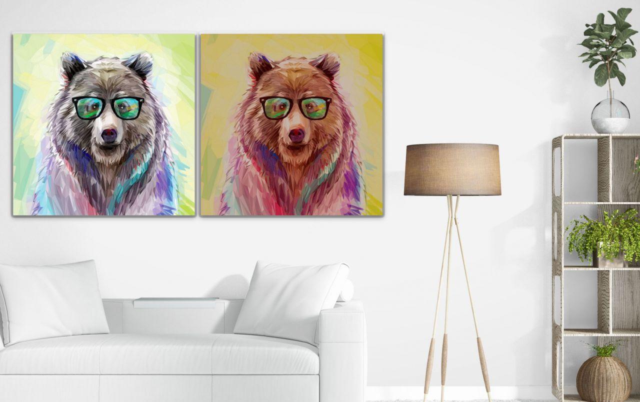 זוג תמונות קנבס ציור של דובים בצבעי מים