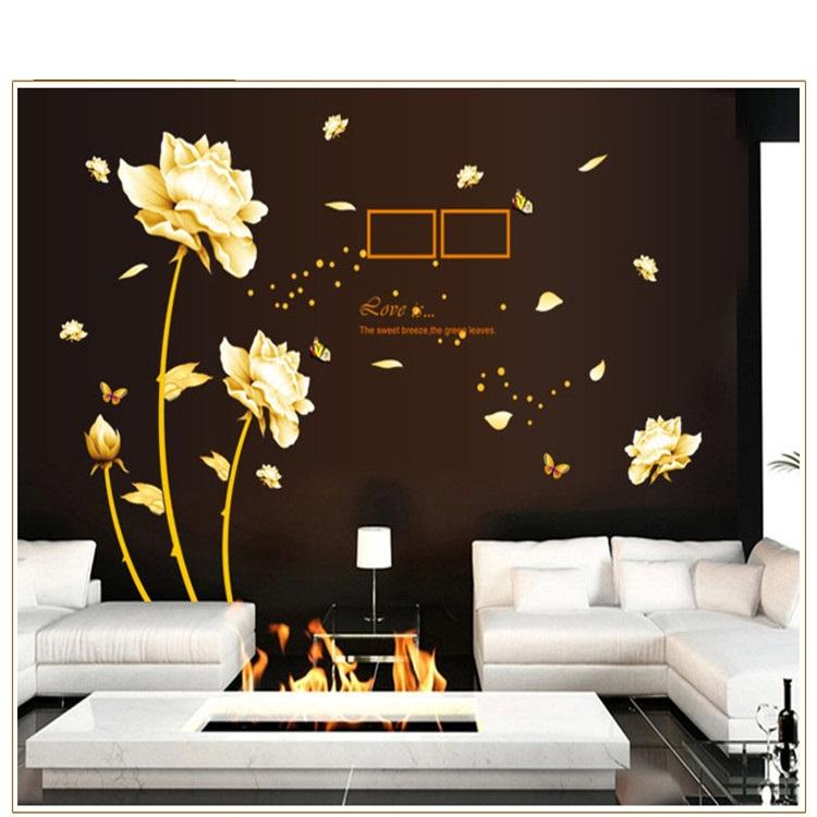 מדבקת קיר פרחים צהובים