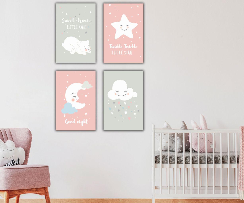 סט תמונות קנבס לחדרי ילדים חלומות מתוקים
