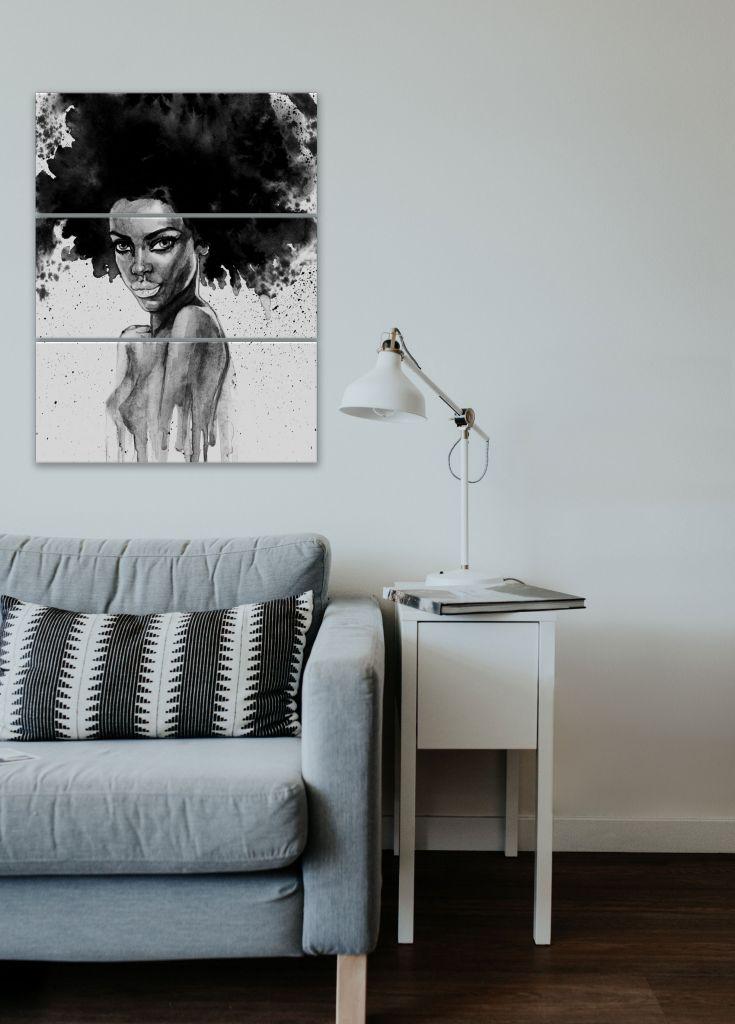 תמונת קנבס אישה אפריקאית בשחור לבן