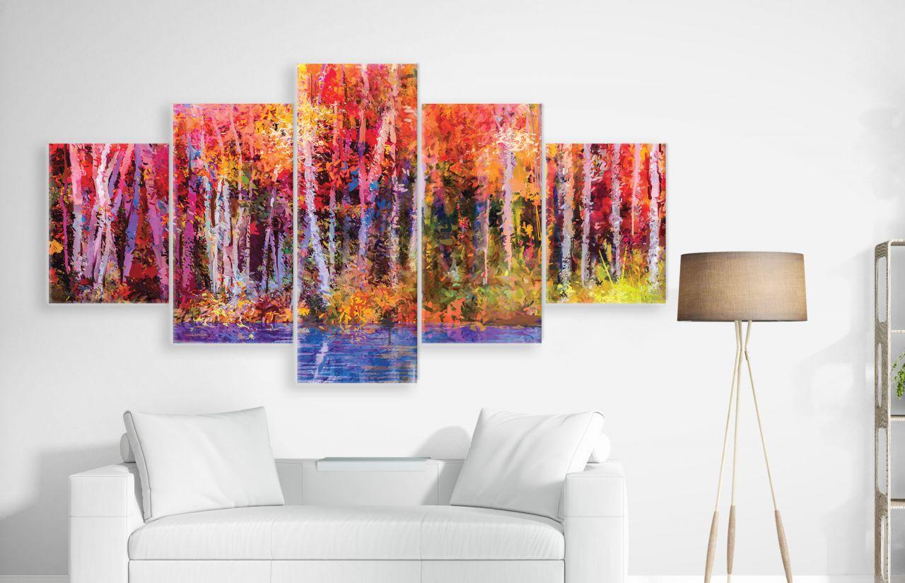 תמונת קנבס מחולקת ציור שמן של יער