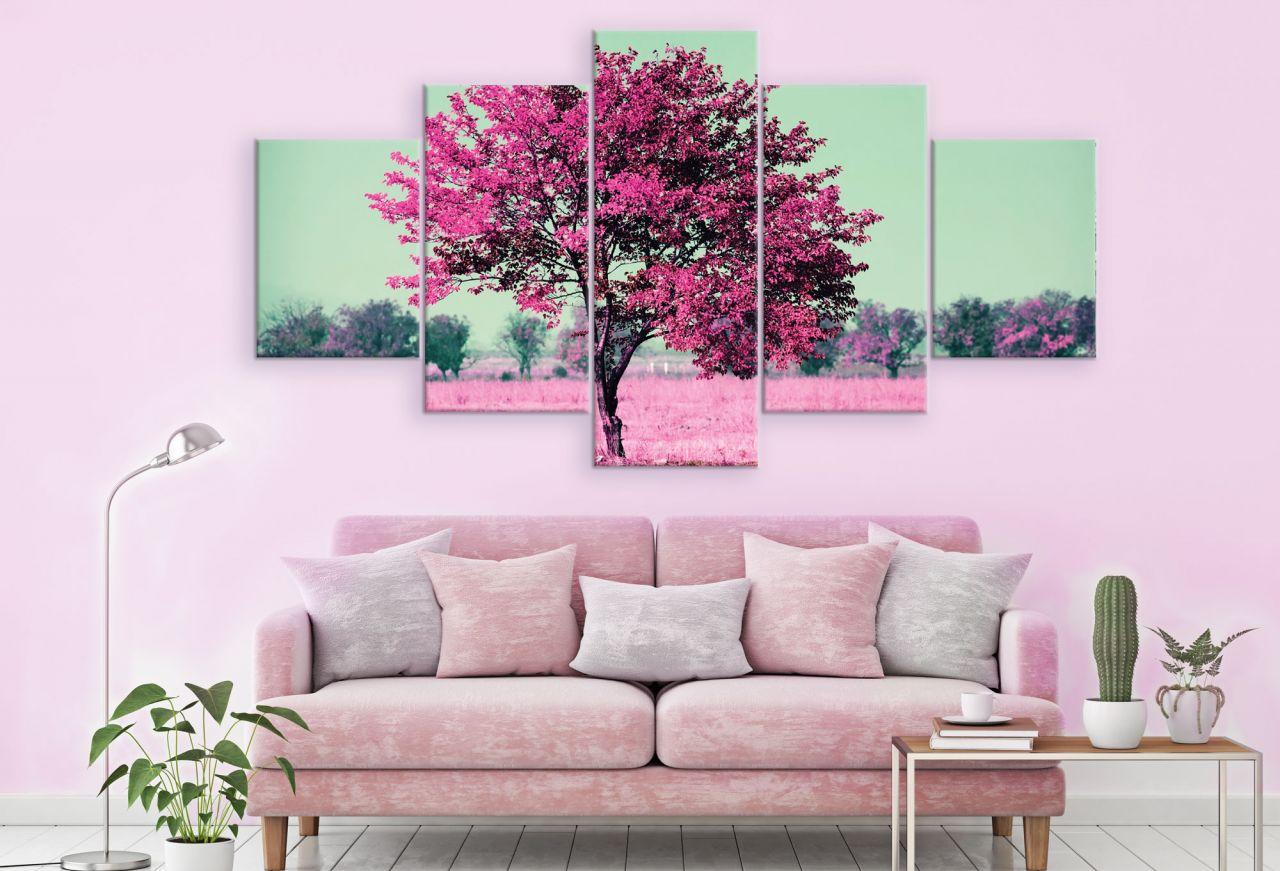 תמונת קנבס מחולקת של עץ ורוד