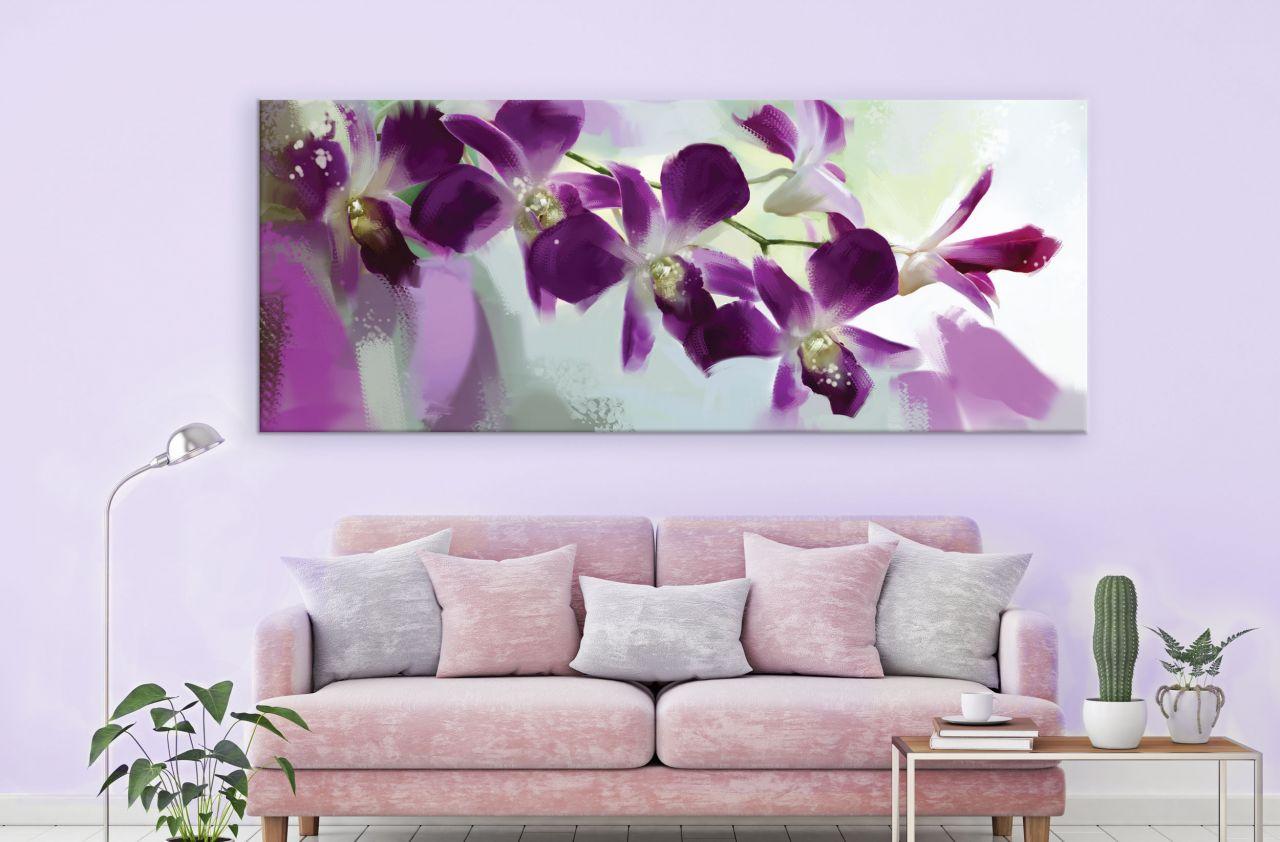 תמונת קנבס בצבעי מים פרחים סגולים