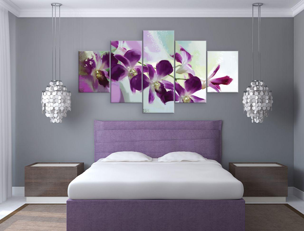תמונת קנבס מחולקת פרחים סגולים