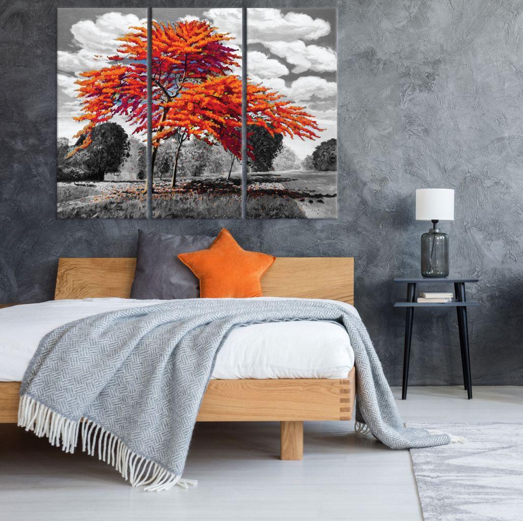 תמונת קנבס ציור שמן עץ כתום