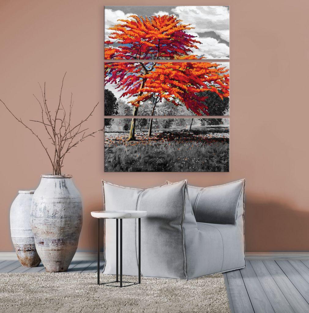 תמונת קנבס מחולקת עצים כתומים