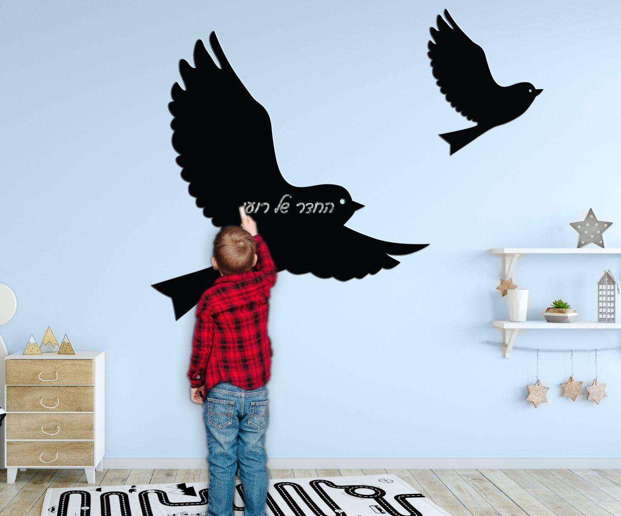 מדבקת קיר לוח גיר ציפורים