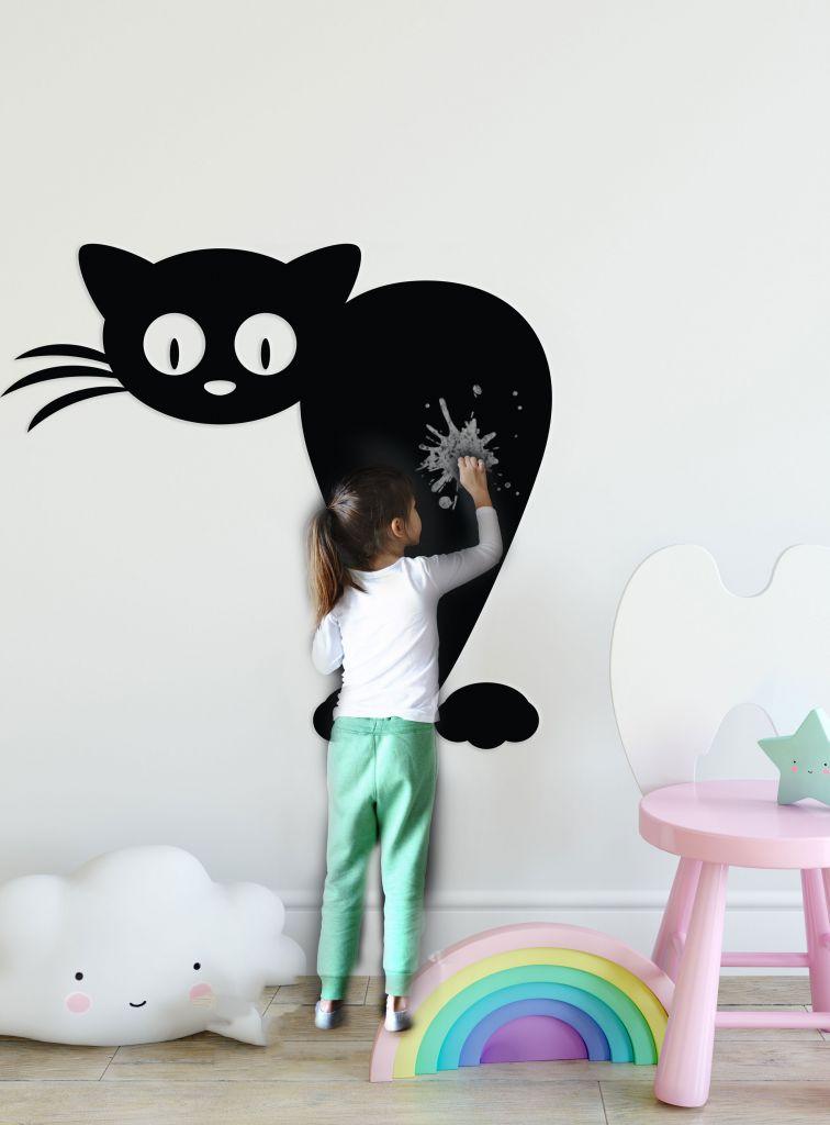מדבקת קיר לוח גיר חתול