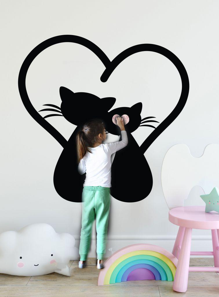 מדבקת קיר לוח גיר חתולים