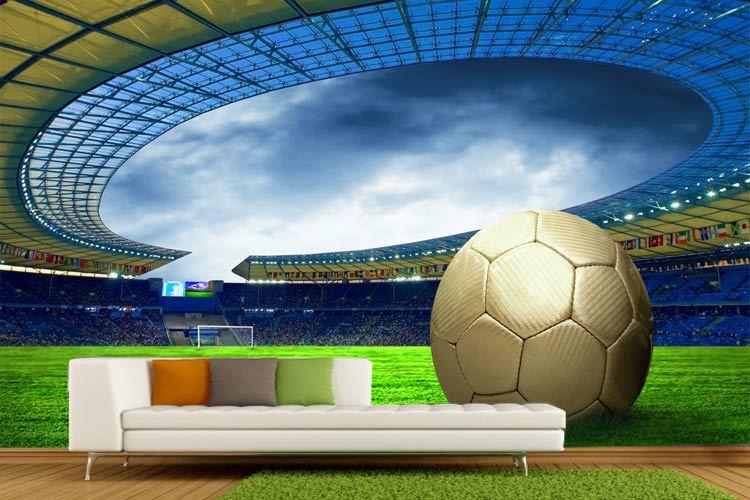 תמונת טפט אצטדיון כדורגל פתוח תלת מימד