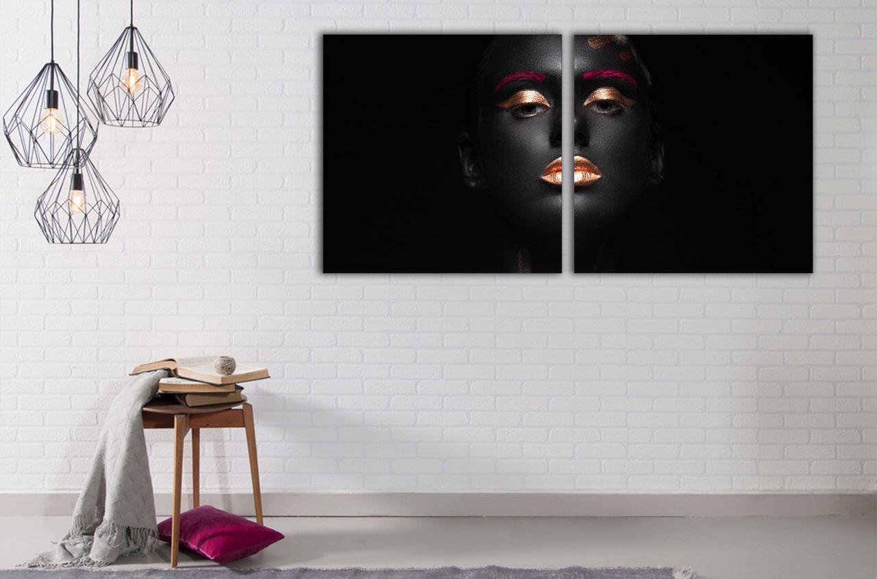 זוג תמונות קנבס ציור צבעוני אישה אפריקאית