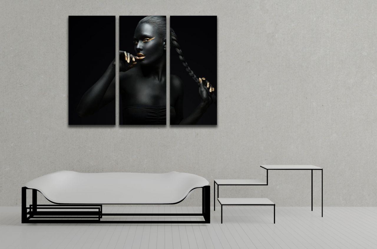תמונת קנבס ציור אישה אפריקאית עם צמה
