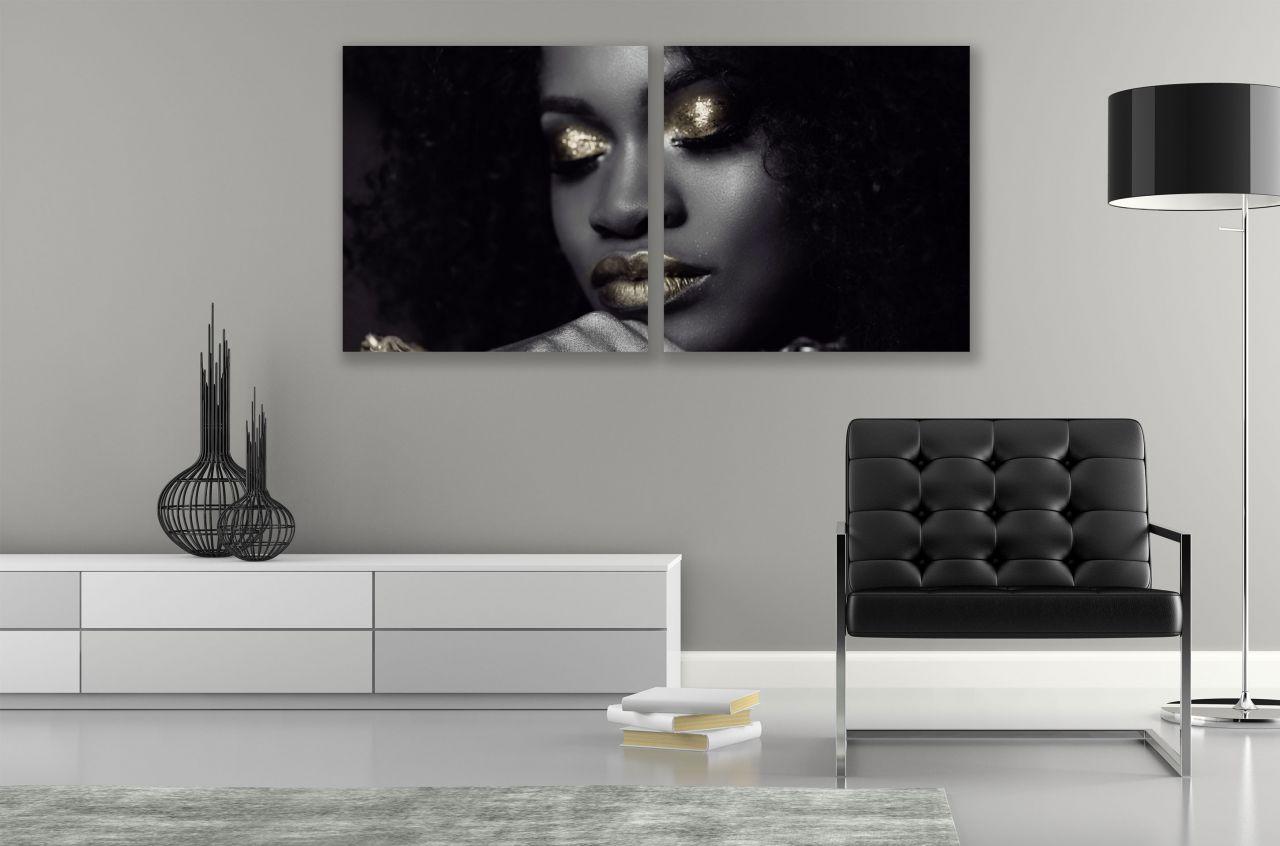 זוג תמונות קנבס אישה יפה בצבעים שחור וזהב