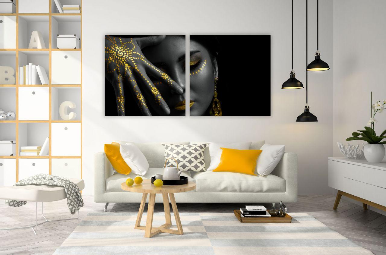 זוג תמונות קנבס אישה אסייתית בצבעי שחור וזהב