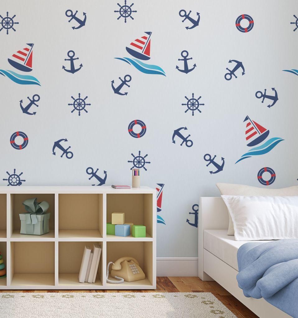 מדבקות קיר הפלגה לחדרי ילדים