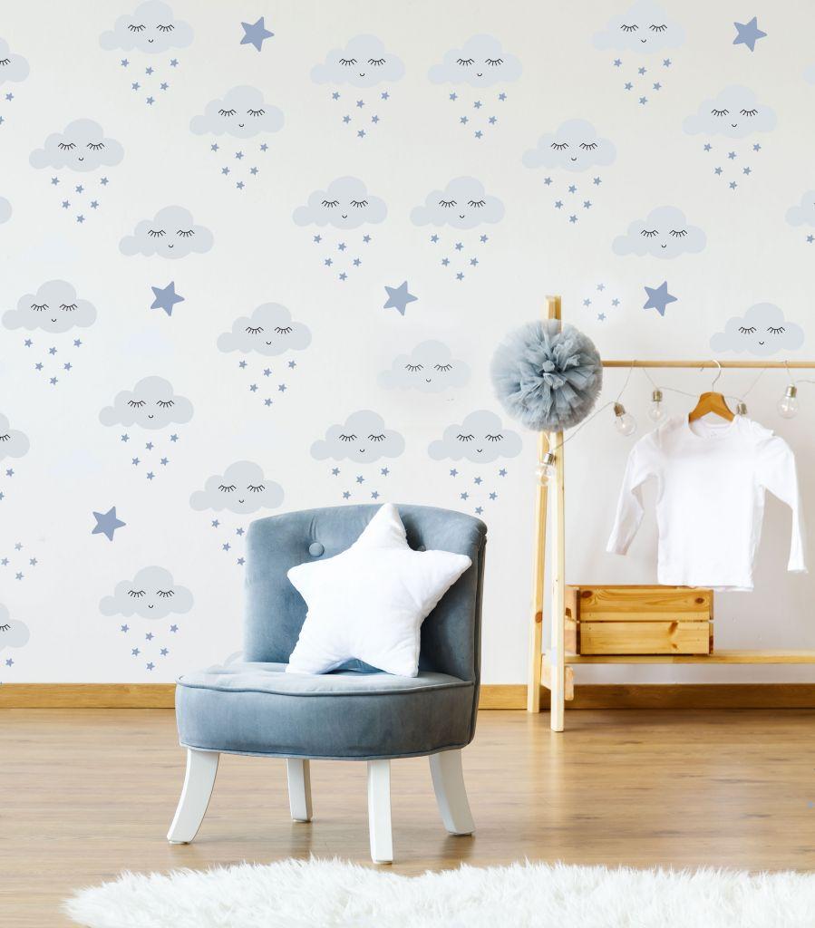 מדבקות קיר עננים וכוכבים לחדרי ילדים