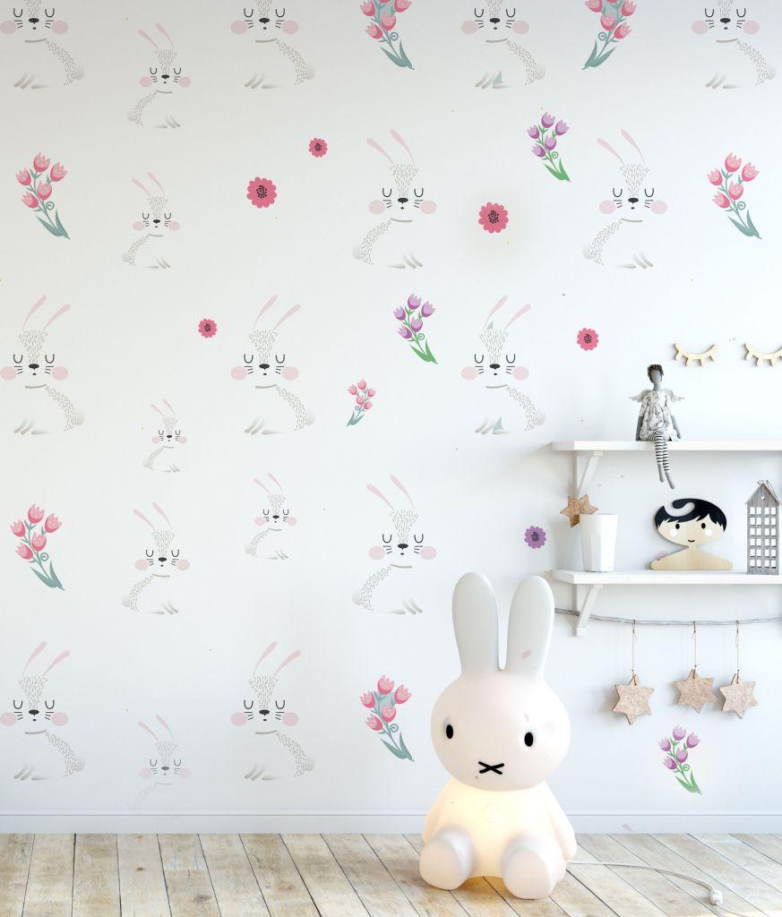 מדבקות קיר ארנבים ופרחים לחדרי ילדים