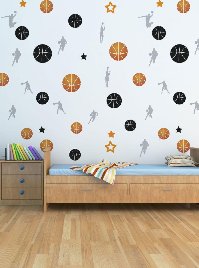 מדבקות קיר כדורסל לחדרי ילדים