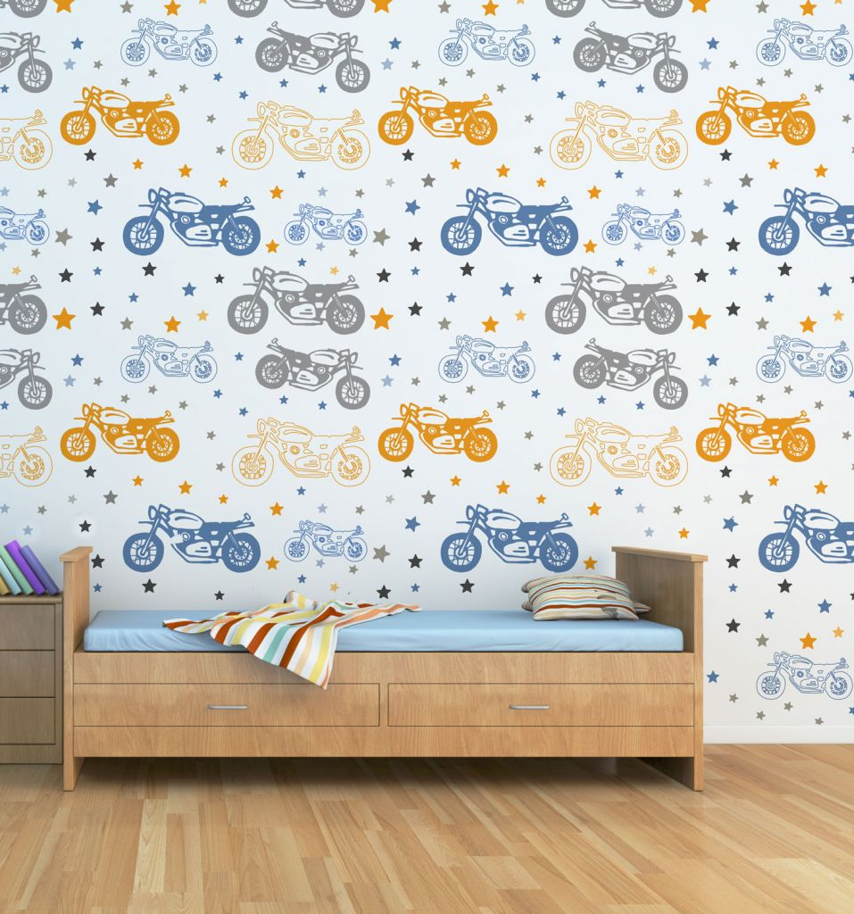 מדבקות קיר אופנועים לחדרי ילדים